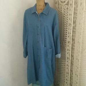 Orvis Sleeved Collared Blue Denim Chambry Dress L